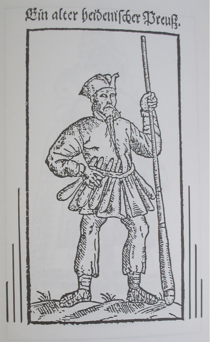 Ginkluotas prūsų pagonis. M. Waisselio 1599 m. medžio raižinys.